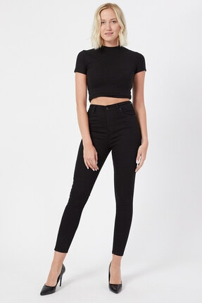 VAV Kadın Siyah Yüksel Bel Kot Pantolon