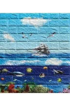 Renkli Duvarlar Nw76 Gemi Okyanus 3d Kendinden Yapışkanlı Folyo Duvar Paneli