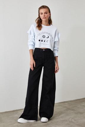 TRENDYOLMİLLA Siyah Dikiş Detaylı Yüksek Bel Wide Leg Jeans TCLAW19LR0002