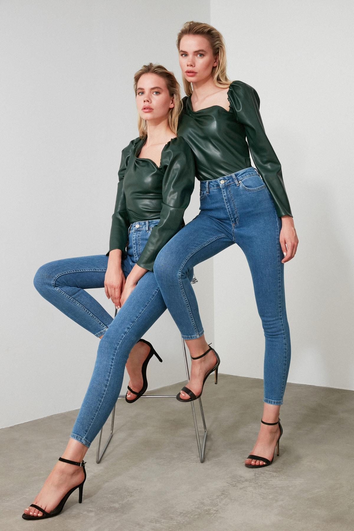 TRENDYOLMİLLA Mavi Yüksek Bel Skinny Jeans TWOAW21JE0167 1