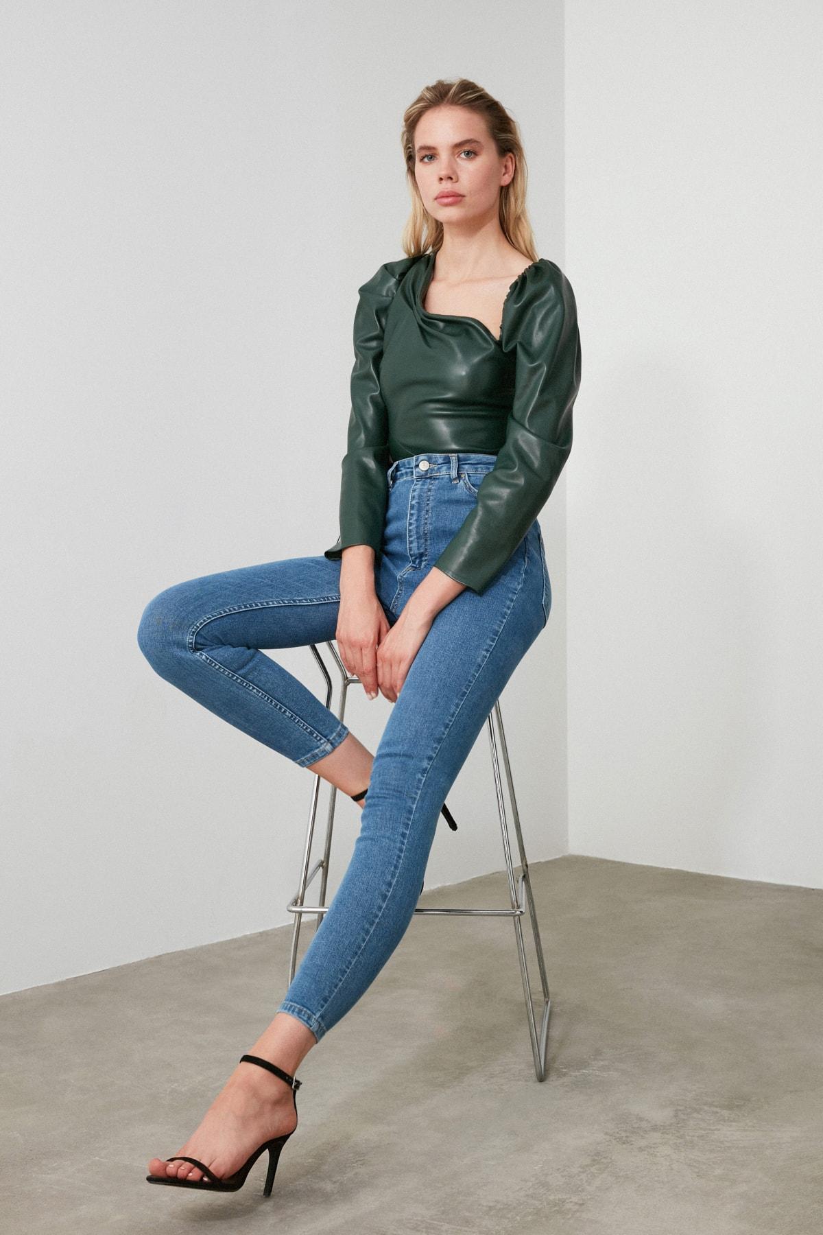 TRENDYOLMİLLA Mavi Yüksek Bel Skinny Jeans TWOAW21JE0167 2