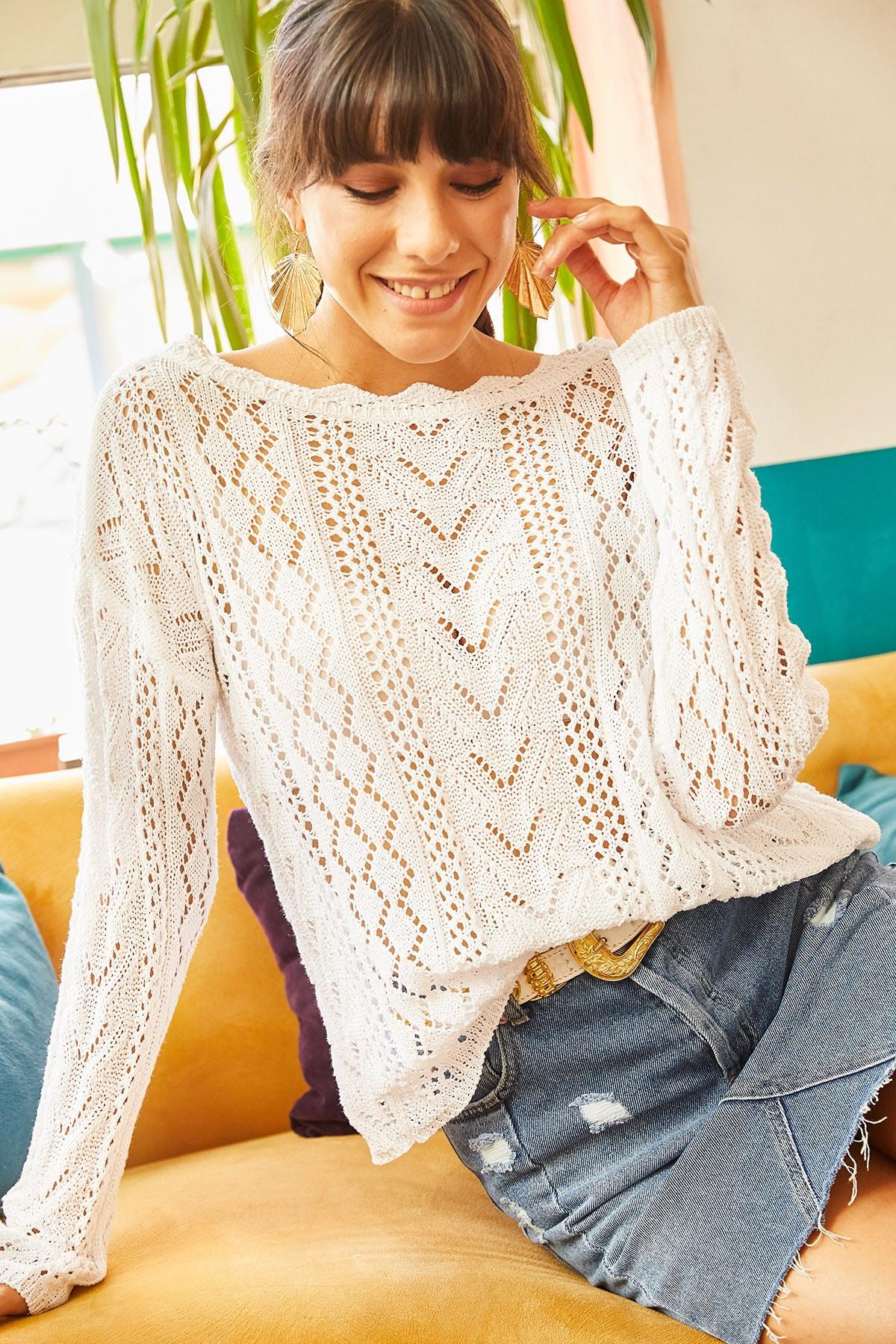 Olalook Kadın Beyaz Kayık Yaka Baharlık Triko Bluz BLZ-19001070 1