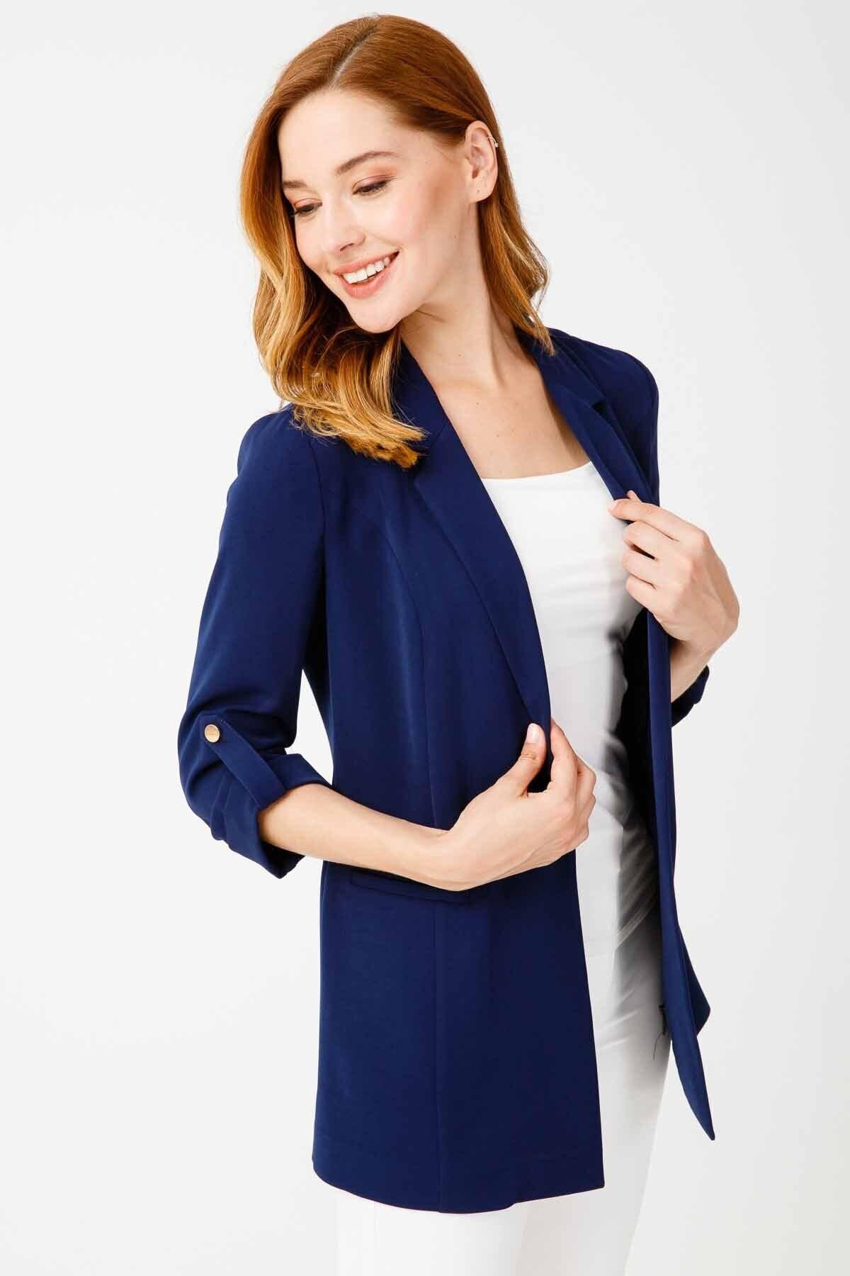 Ekol Kadın Lacivert Çizgi Cep Ceket 1