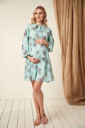 Görsin Hamile Kadın  Mint Hamile Yaka Bağcık Elbise