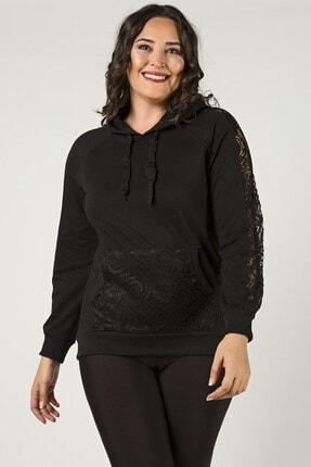 Womenice Kadın Siyah Büyük Beden Kolları Dantelli Sweatshirt