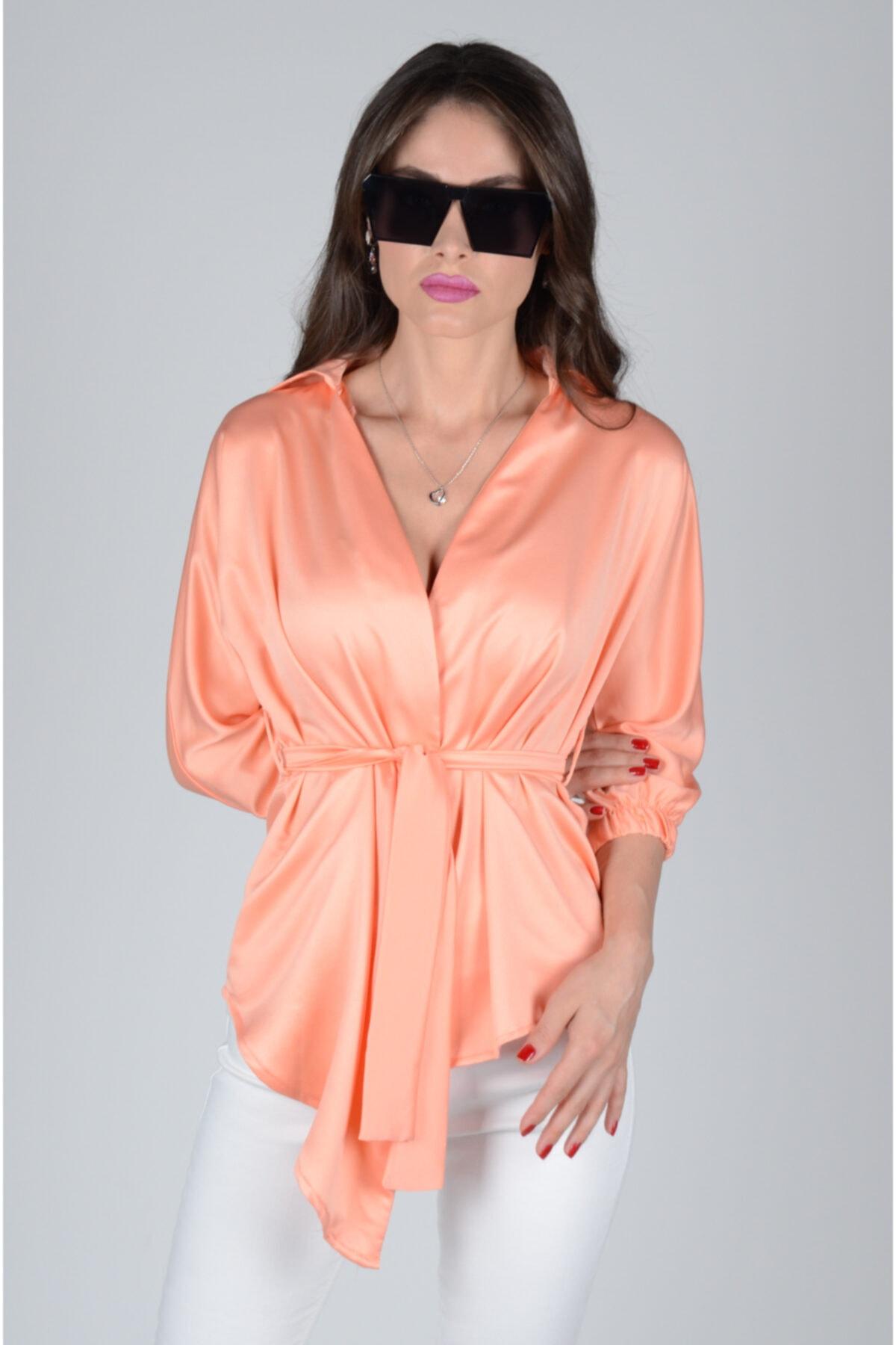 dm street style Kadın Turuncu Belden Bağlamalı Ipek Saten Bluz 1