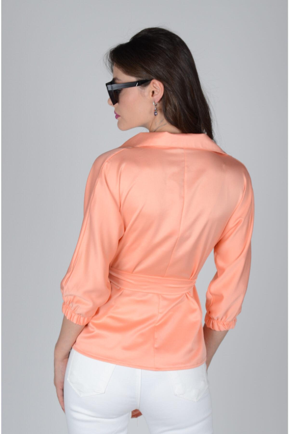 dm street style Kadın Turuncu Belden Bağlamalı Ipek Saten Bluz 2