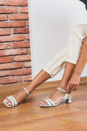 Gökhan Talay Su Yeşili Kısa Topuklu Kadın Ayakkabı
