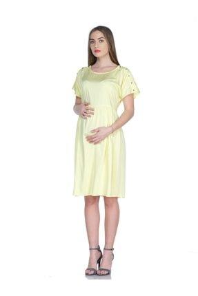 BUSA Kadın Sarı Omuz Aksesuarlı Hamile Günlük Elbise