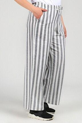Womenice Kadın Gri Beyaz Büyük Beden Beli Bağcıklı Cepli Çizgili Pantolon
