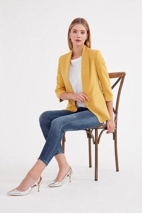 Journey Kadın Sarı Ceket Şal Yaka Kol Ucu Duble Detaylı Ceket