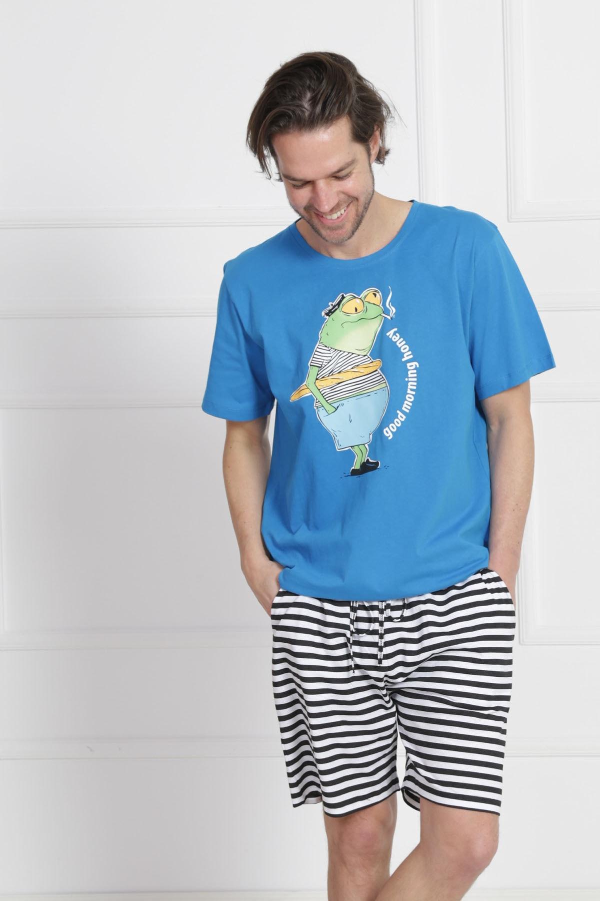 GAZZAZ Erkek Saks Kısa Kol Normal Beden Pamuklu Şortlu Pijama Takım 1