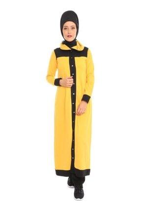Simisso Kadın Sarı Siyah Düğmeli Tesettür Eşofman Takımı 10900
