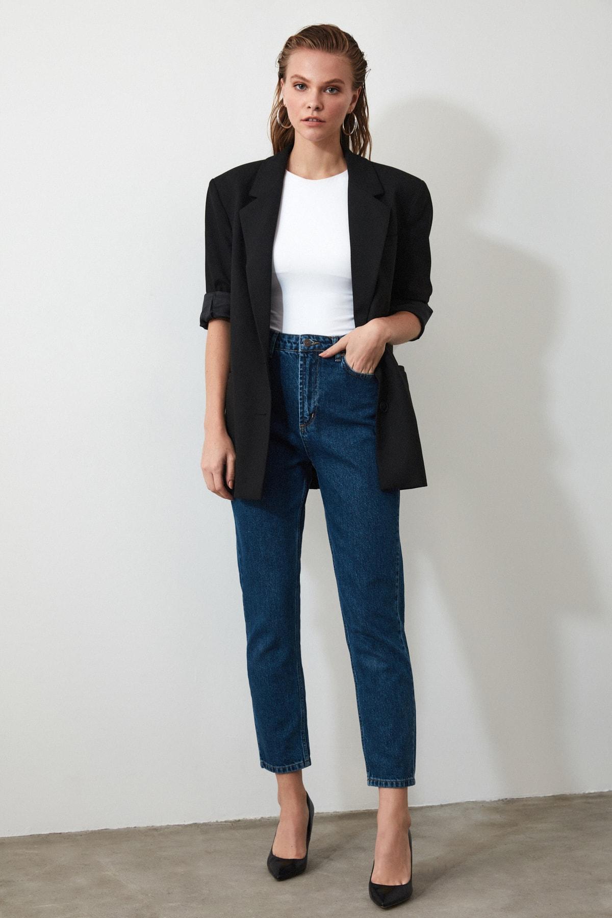 TRENDYOLMİLLA Indigo Yüksek Bel Mom Jeans TWOAW20JE0129 2