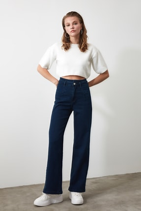 TRENDYOLMİLLA Lacivert Dikiş Detaylı Süper Yüksek Bel  Wide Leg Jeans TWOSS20JE0015