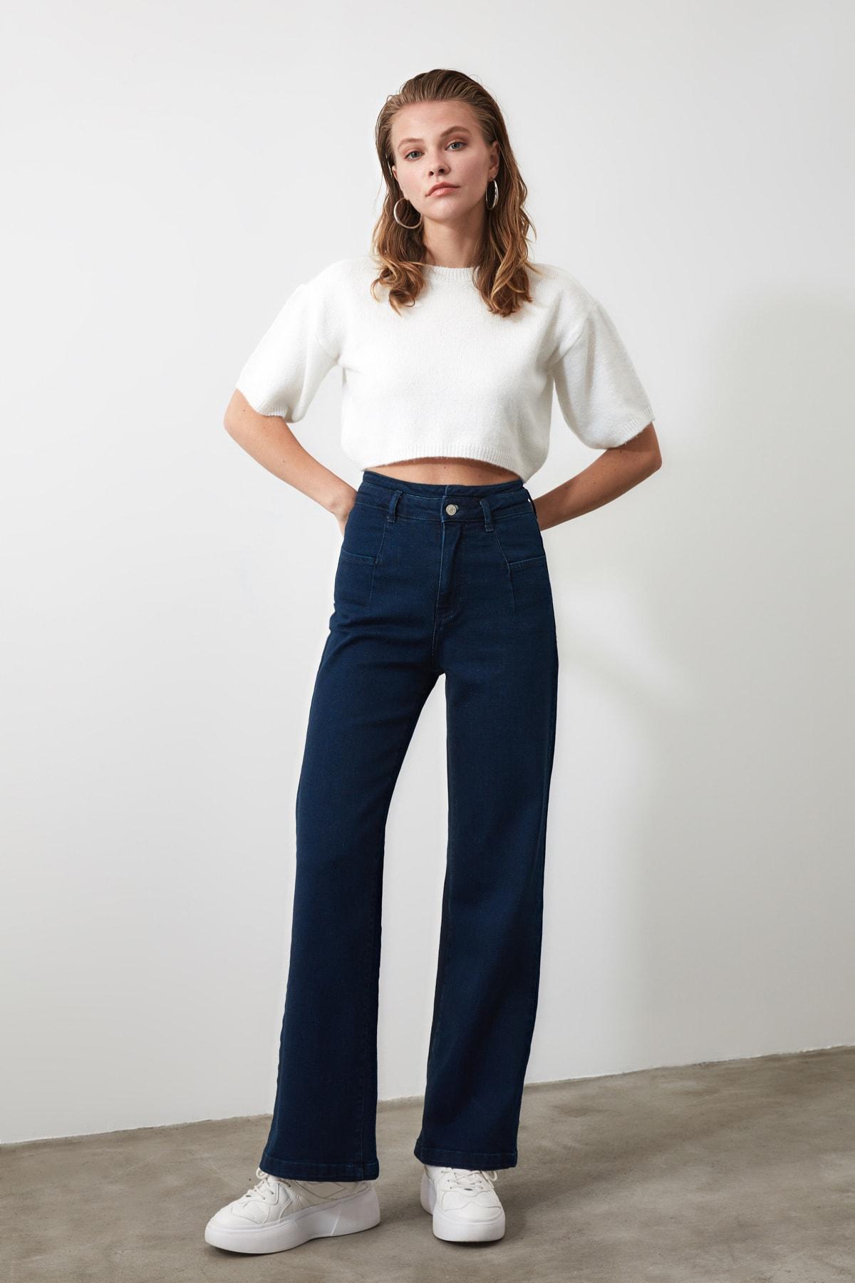 TRENDYOLMİLLA Lacivert Dikiş Detaylı Süper Yüksek Bel  Wide Leg Jeans TWOSS20JE0015 1