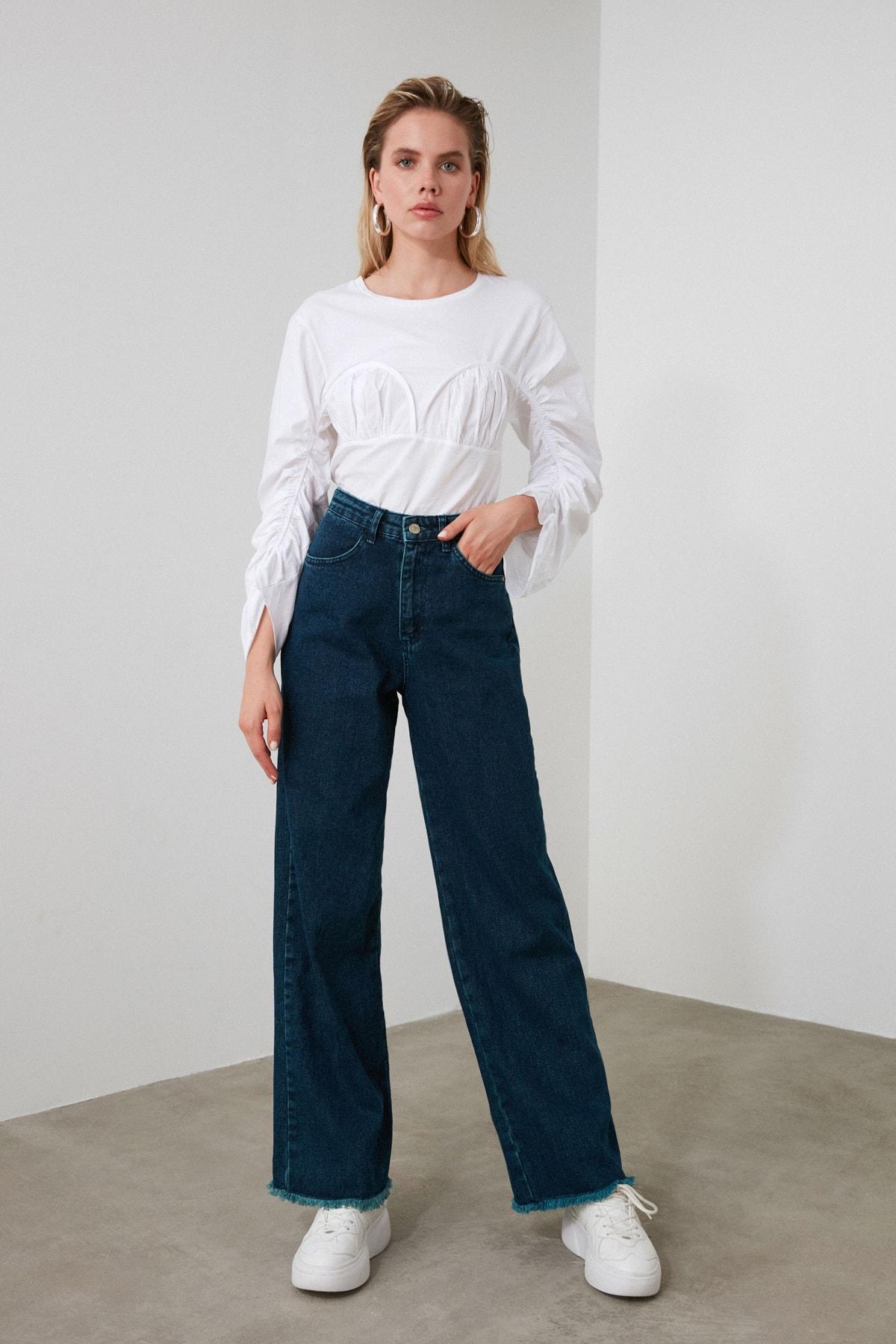 TRENDYOLMİLLA Lacivert Paçası Püsküllü Yüksek Bel Wide Leg Jeans TWOSS20JE0185 1