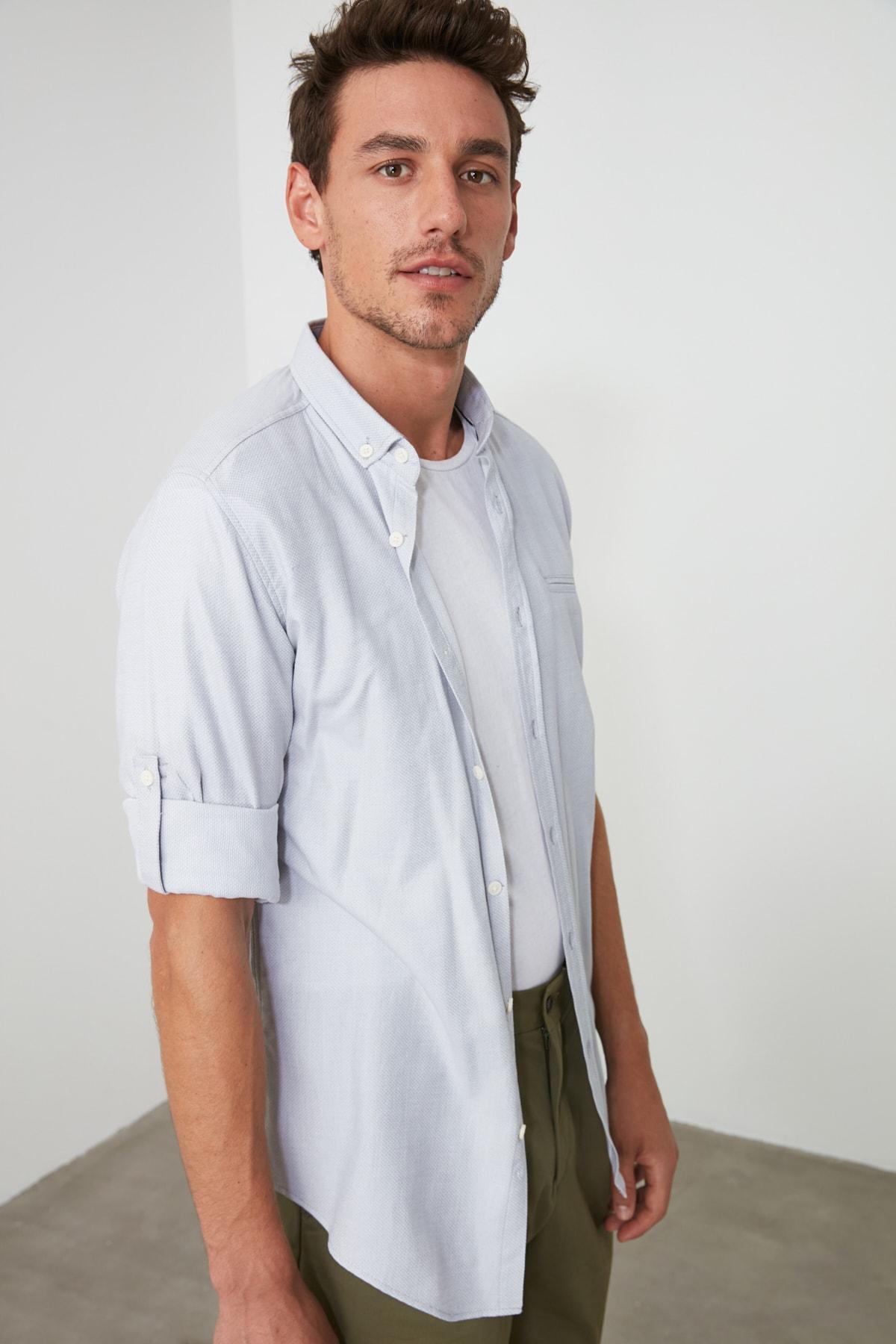 TRENDYOL MAN Gri Erkek  Fileto Cepli Apoletli Slim Fit Gömlek TMNSS20GO0123 2