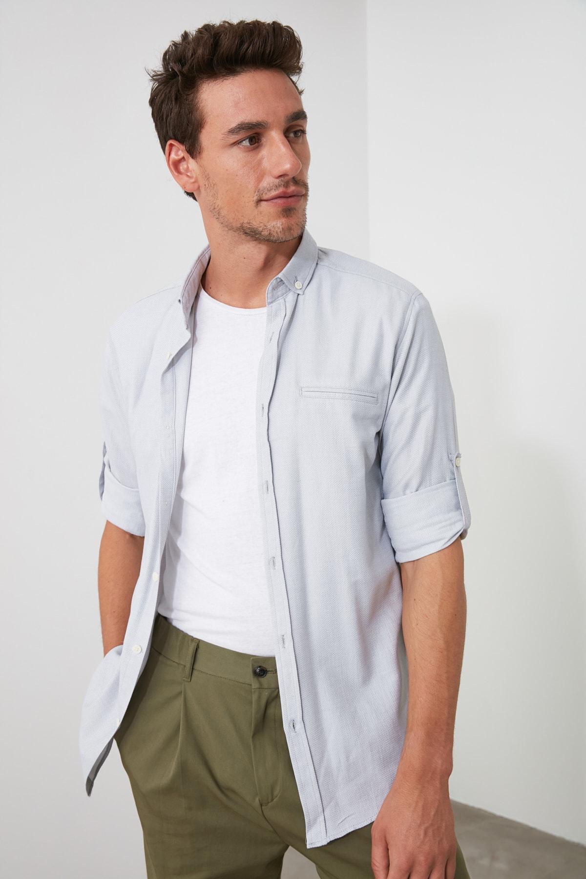TRENDYOL MAN Gri Erkek  Fileto Cepli Apoletli Slim Fit Gömlek TMNSS20GO0123 1