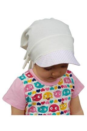 Babygiz %100 Pamuklu,el Yapımı,ekstra Yumuşak Kız Bebek Çocuk Beyaz Ekru Şapka Bere