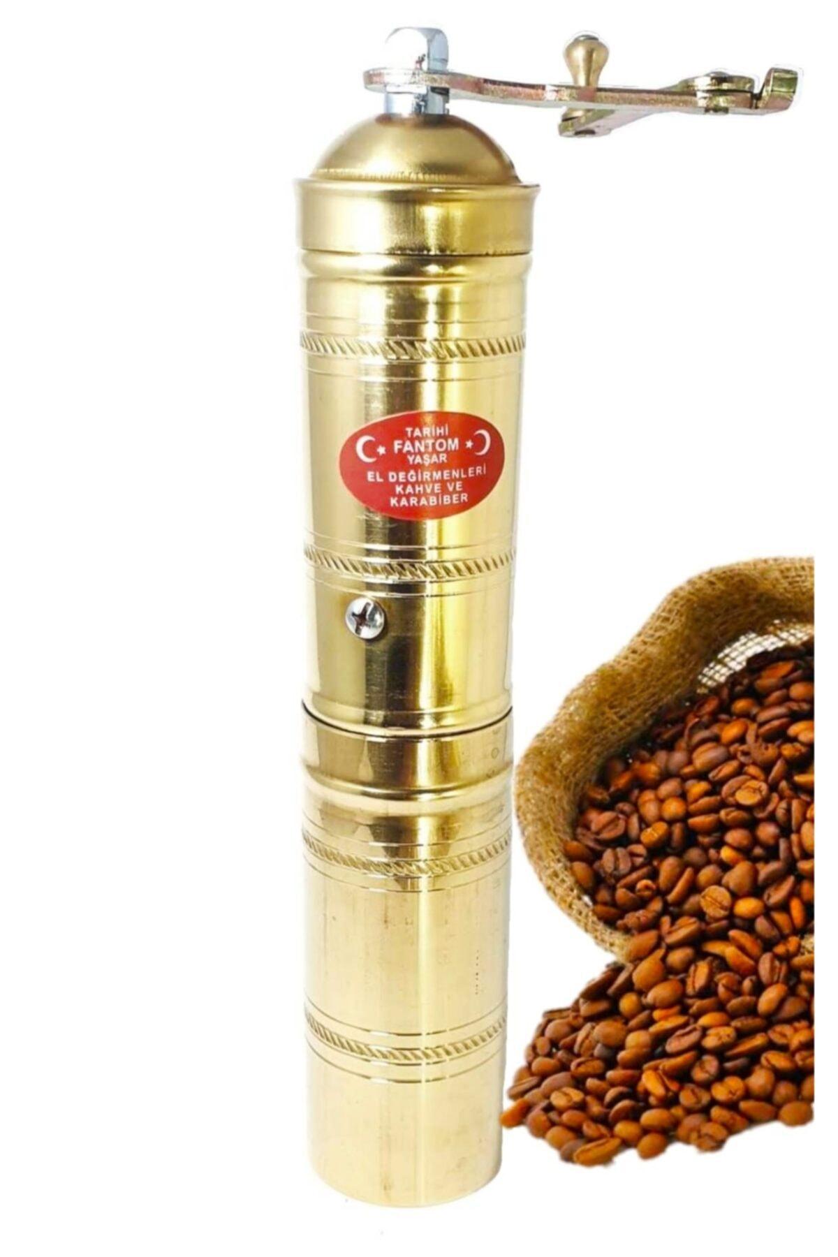 Fantom Pirinç Işlemeli Uzun Sade Kahve Öğütücü El Değirmeni Ln-378 1