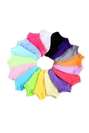 çorapmanya 12 Çift Koton Ekonomik Karışık Renk Kadın Patik Çorap