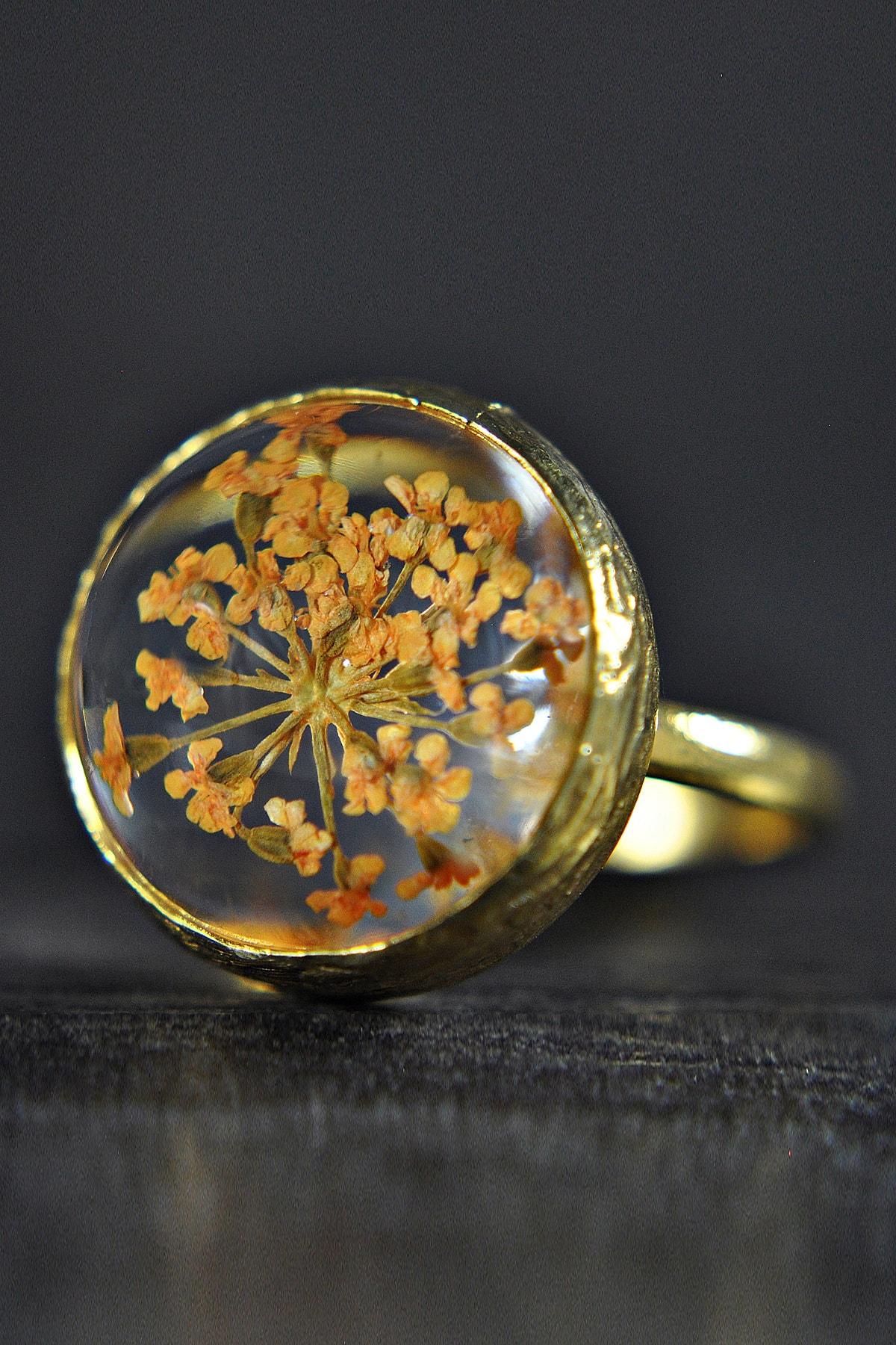 LADYMİRAGE Gerçek Çiçekli Altın Kaplama Yüzük 1