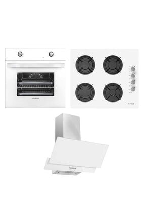 Alveus Yeni Beyaz Ankastre Set ( Mfa 604 M Fırın - Gls 640 Bl Ocak - F17/60 Davlumbaz )