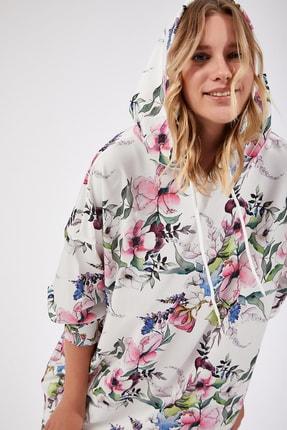 Happiness İst. Kadın Canlı Pembe Desenli Oversize Sweat Elbise  DD00511