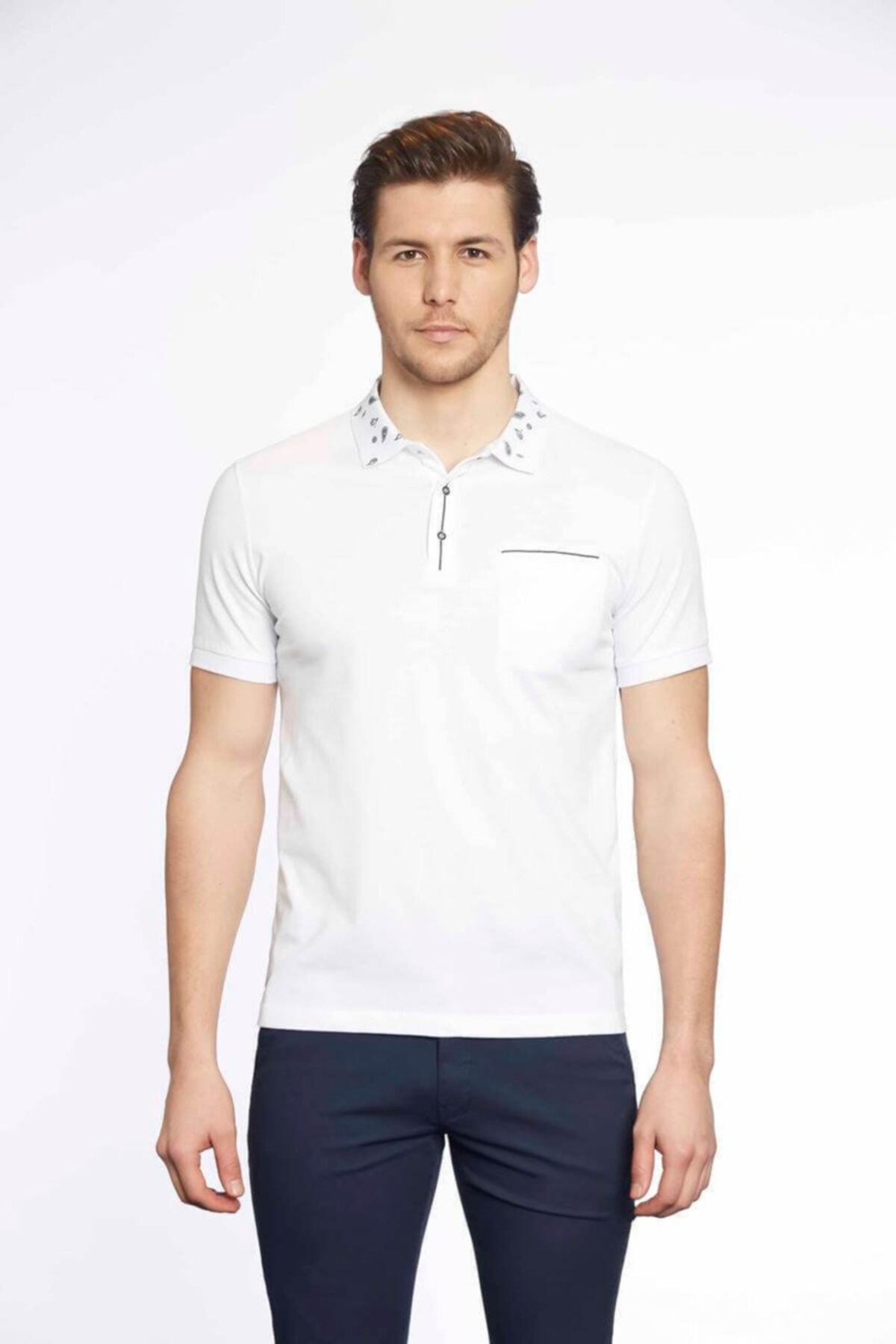 Tony Montana Erkek Beyaz Polo Yaka T-shirt 1