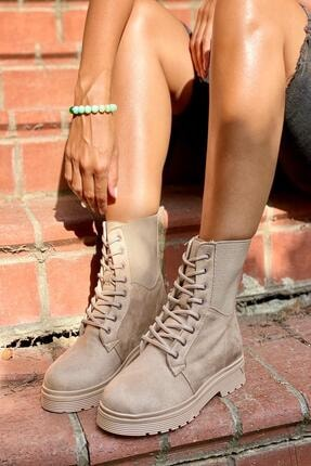 İnan Ayakkabı Kadın Bej Kenardan Lastikli Postal