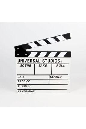 BUHANA HEDİYELİK Beyaz Ahşap Büyük Boy Sinema Klaketi Dekoratif Hediyelik