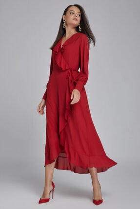 Gusto Kadın Kırmızı Yakası Volanlı Kolu Manşetli Astarlı Uzun  Elbise 20KG009301