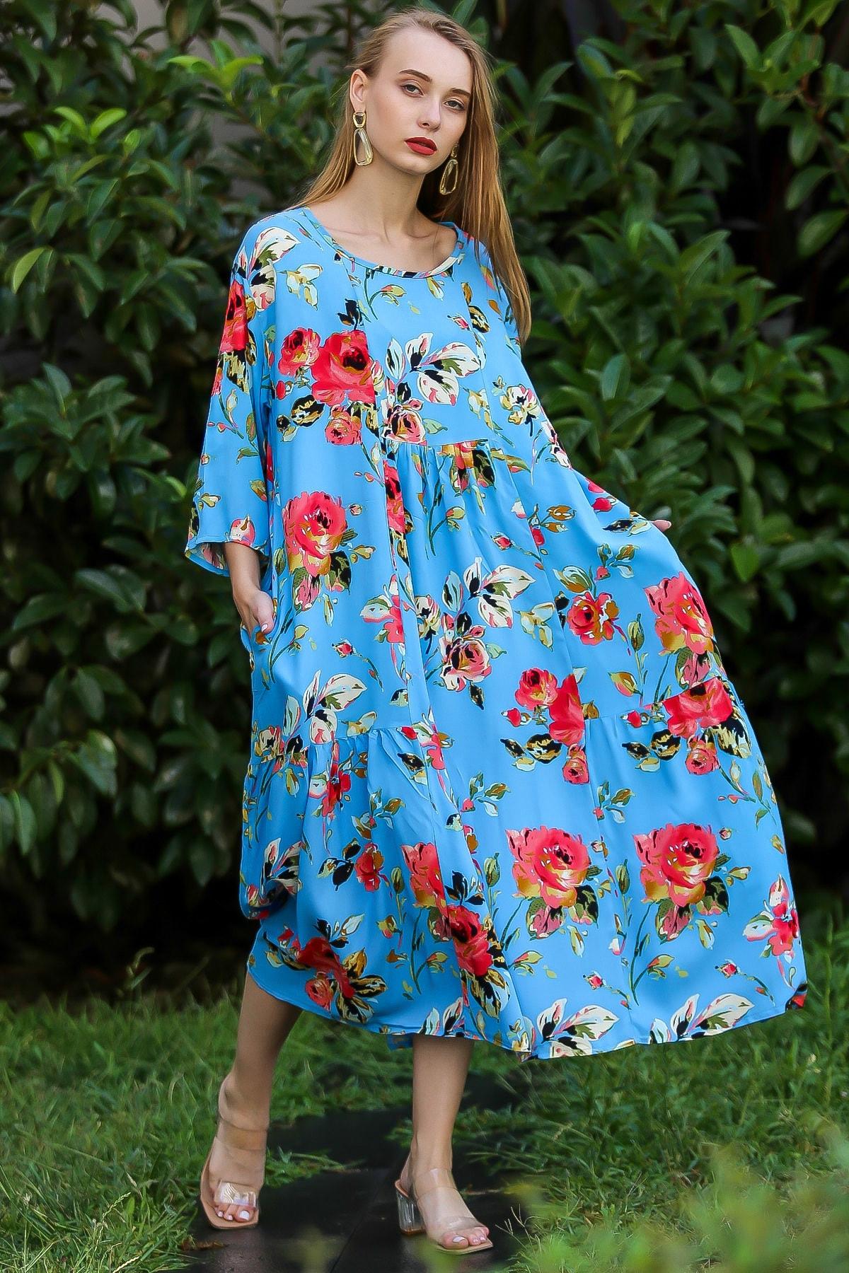 Chiccy Kadın Mavi Vintage Sıfır Yaka Gül Desenli Oversize Cepli Elbise M10160000El96340