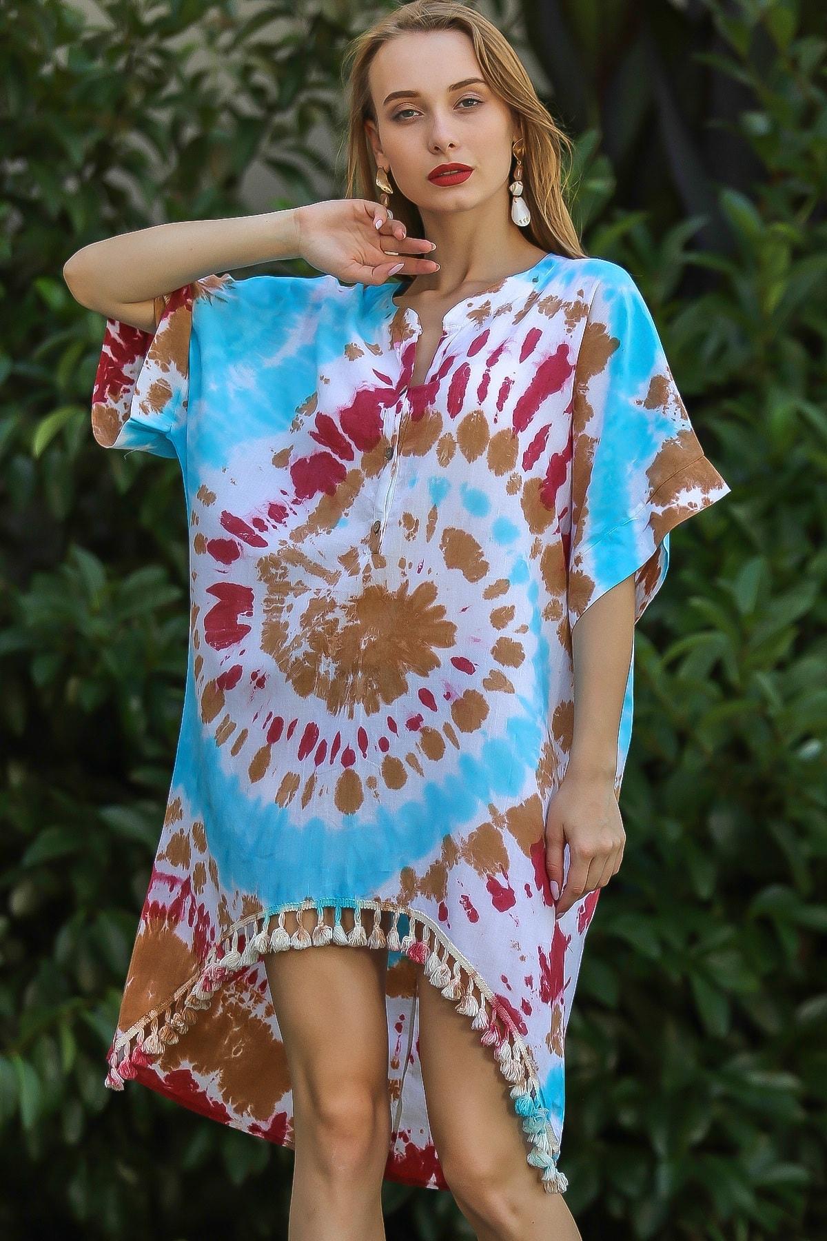 Chiccy Kadın Turkuaz Etnik Düğme Detaylı Batik Desenli Püsküllü Yıkamalı Salaş Elbise M10160000El96331