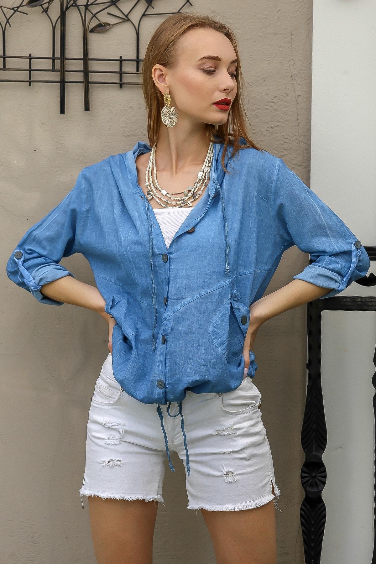 Chiccy Kadın Mavi Casual Kapüşonlu Düğmeli Beli Ip Detaylı Büzgülü Yıkmalı Ceket M10210100Ce99339