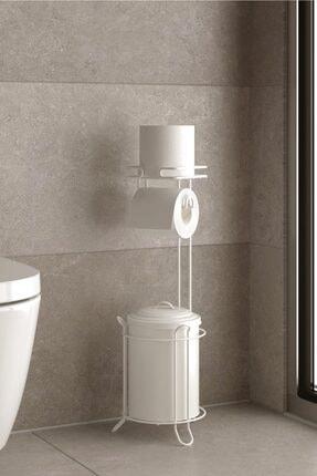 Teknotel Çöp Kovası Ve Ayaklı Yedekli Tuvalet Kağıtlık Beyaz Mg095
