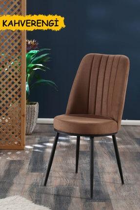 MYMASSA Gold Sandalye Kahverengi - Metal Siyah Ayaklı