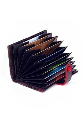 Anı Yüzük Akordiyon Model Hakiki Deri Erkek Kartlık Siyah-kırmızı Detaylı
