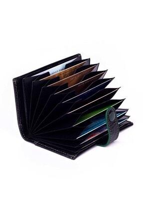 Anı Yüzük Akordiyon Model Hakiki Deri Erkek Kartlık Siyah-yeşil Detaylı