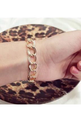 X-Lady Accessories Kadın Gold Lüx Detaylı Çift Zincir Bileklik