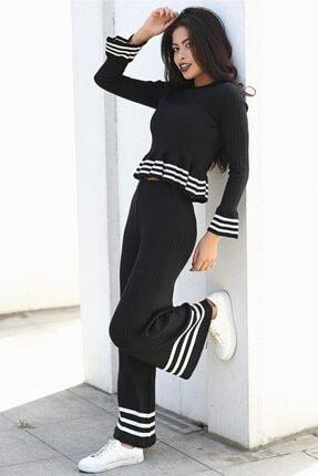 Womenice Kadın Siyah Çizgili Triko Pantolon