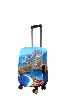 SH Unisex Mavi Desenli Kabin Boy Valiz Kılıfı 00008