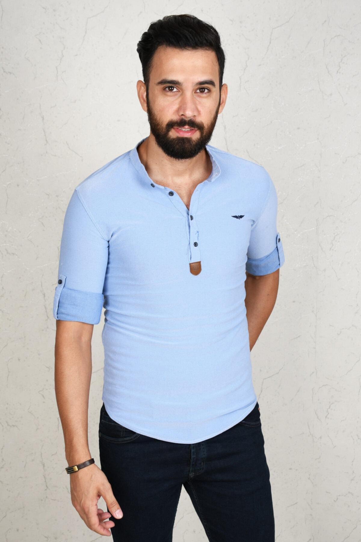 DeepSEA Erkek Mavi Açık Slim Fit Uzun Kol Gömlek 2002808 1