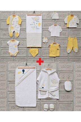 Bebitof Unisex Bebek Sarı %100 Pamuk Balina 10'lu Hastane Çıkış Ve 4'lü Bornoz Seti