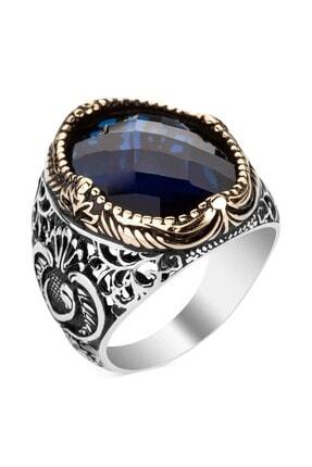 Anı Yüzük Mavi Zirkon Taşlı Vav Figürlü Gümüş Erkek Yüzük