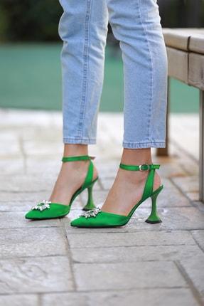 Arazshoes Kadın Yeşil Saten Topuklu Ayakkabı