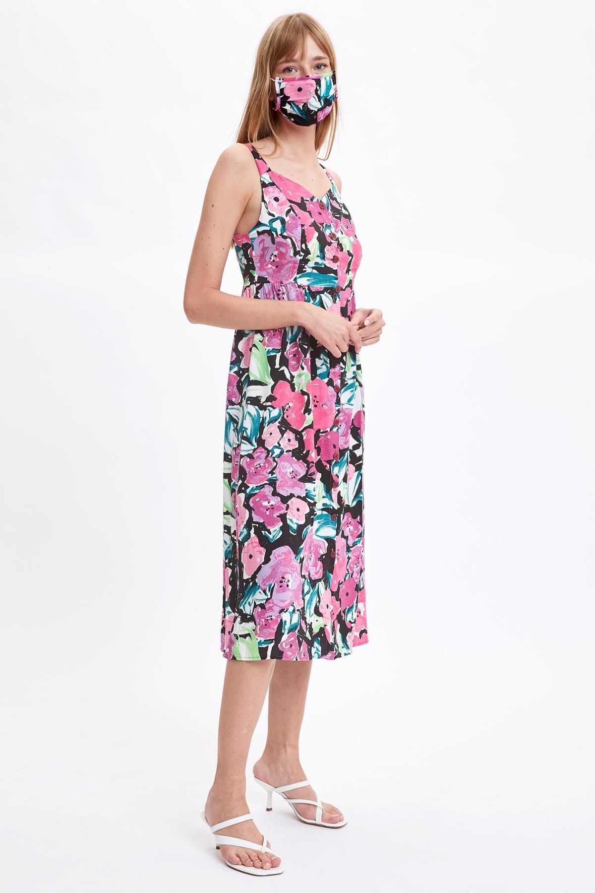 DeFacto Kadın Siyah Geometrik Desenli Midi Boy V Yaka Dokuma Elbise S4759AZ20HS