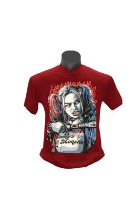 TSHIRTIUM Unisex Bordo Harley Quinn Daddy's Little Monsters Beyzbol Sopalı T-Shirt