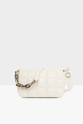 Bagmori Beyaz Kadın Nakışlı Kapaklı Mini Çanta M000004928